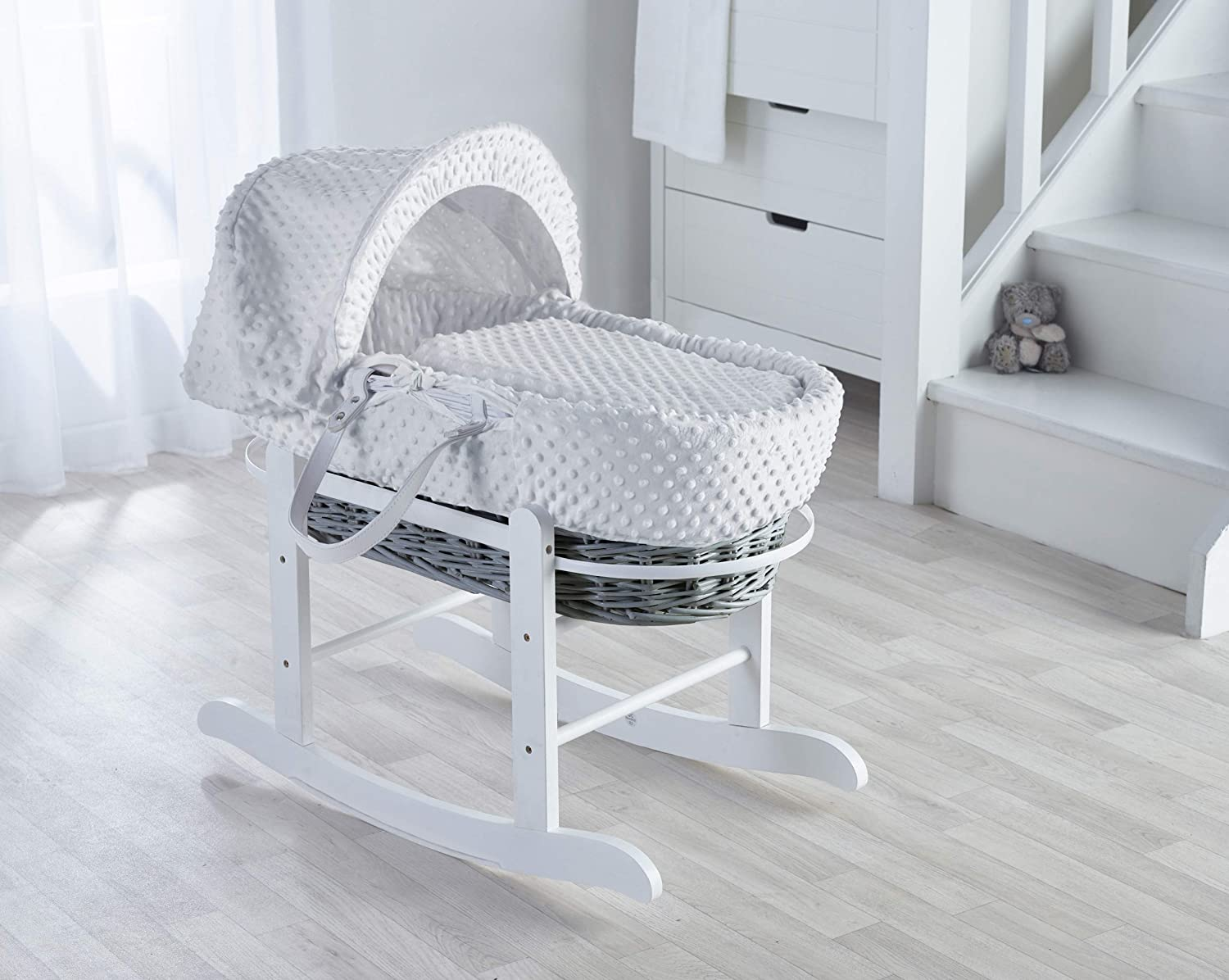 White Dimple on Grey Wicker Padded Moses Basket & Deluxe White Rocking Stand. Elegant Baby