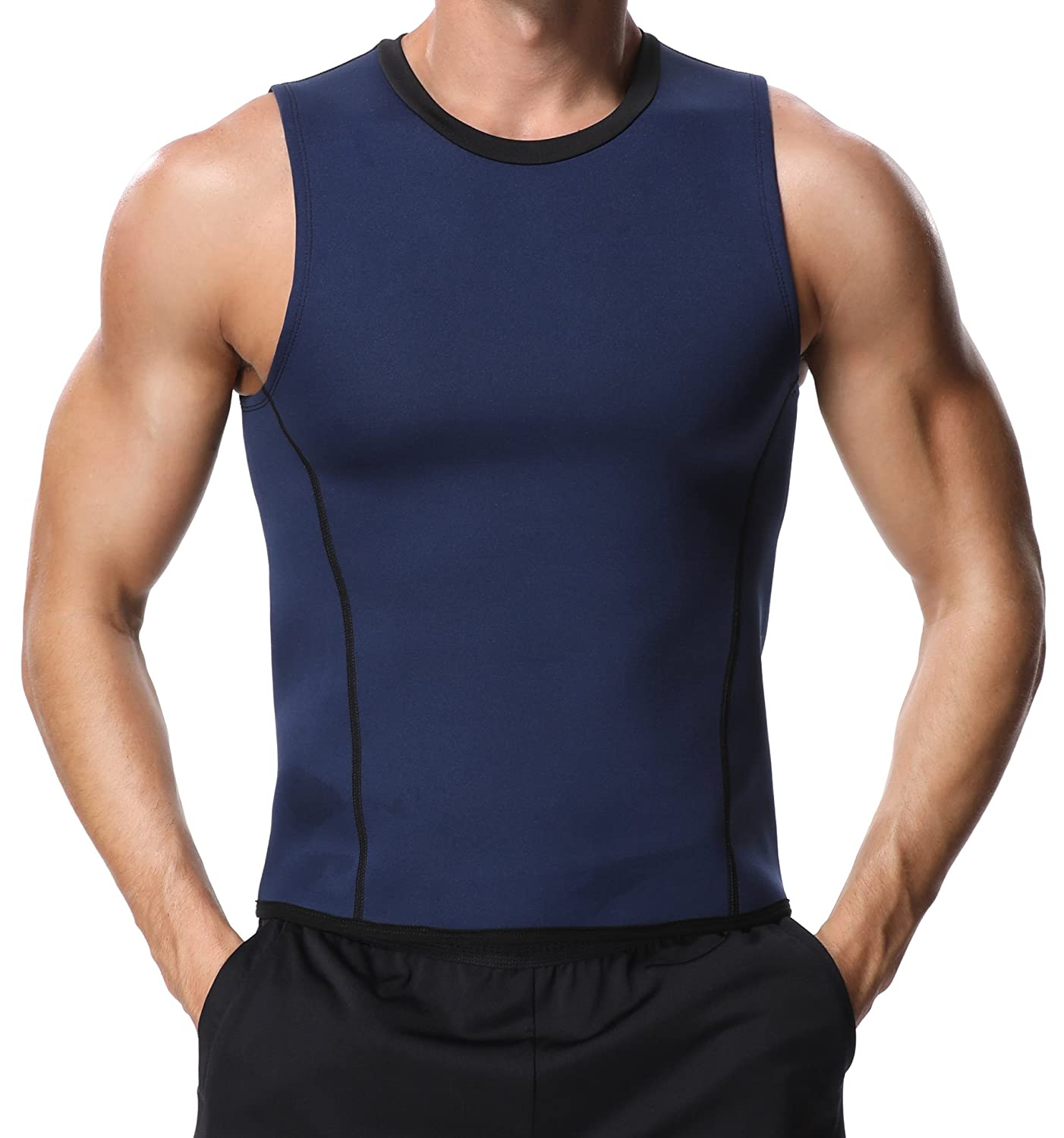 c199f88dbe Amazon.com  MISS MOLY Men Slimming Shirt Black Neoprene Shaper Vest Hot  Sweat Workout Tank Top for Weight Loss (XL Fit Chest 46-50 inch