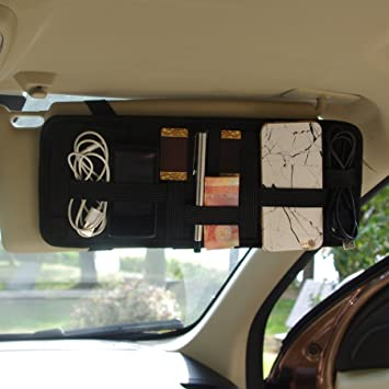 Vecent Car Visor Organizer Tactical Elastic Sun Visor Storage Board Auto  Extra Car Vehicle Pocket For b21cb593104