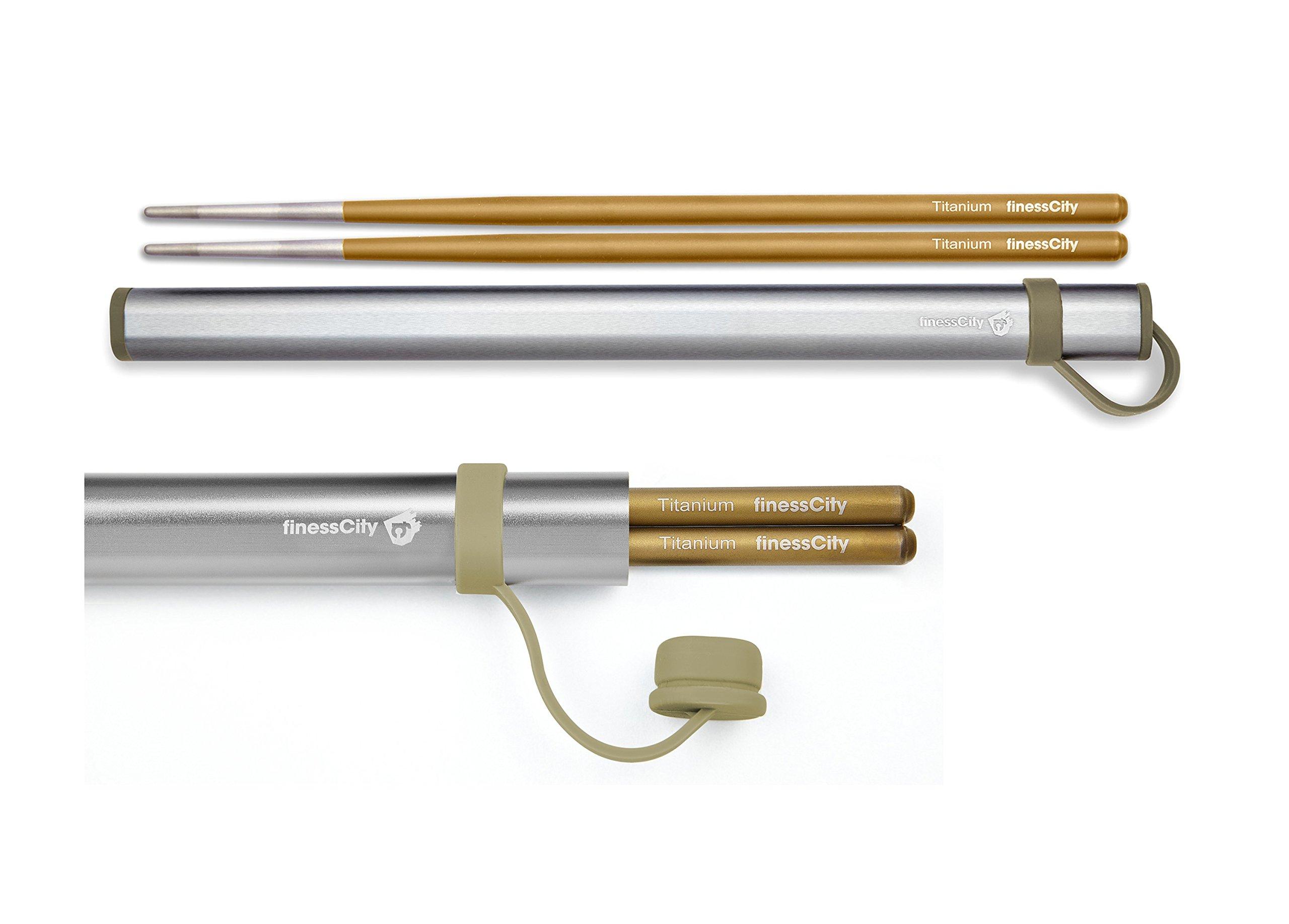 Chopsticks, 1 Pair of Titanium Chopsticks Ultra Lightweight Professional (Ti), Super Strong Healthy and Eco-Friendly 1 Pair of Chopsticks Comes with Free Aluminium Case (Golden)