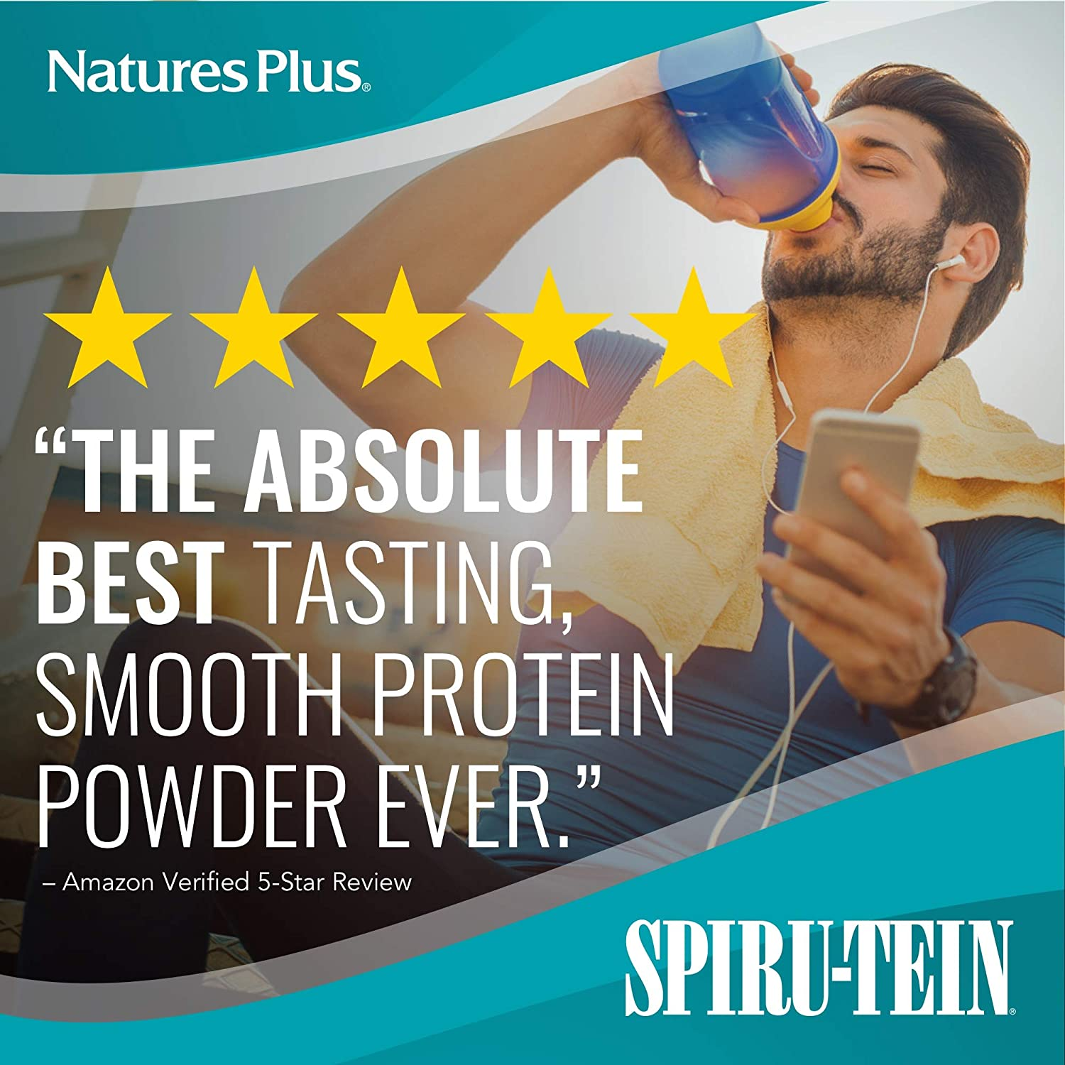 NaturesPlus Simply Natural SPIRU-TEIN Shake – Unsweetened Vanilla – .82 lb, Protein Powder – Meal Replacement – Natural Energy – Supports Diabetic Lifestyle – Vegetarian, Gluten-Free – 16 Servings