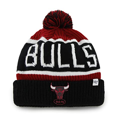 21cf6a2b061 Amazon.com   NBA Chicago Bulls  47 Brand Calgary Cuff Knit Hat with ...