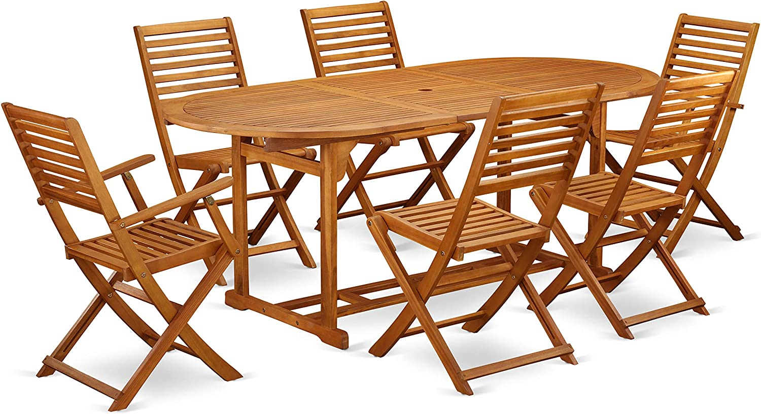 Amazon Com This 7 Piece Acacia Solid Wood Balcony Dining Sets Includes An Outdoor Table And Four Side Patio Dining Chairs And 2 Arm Foldable Outdoor Chairs Furniture Decor