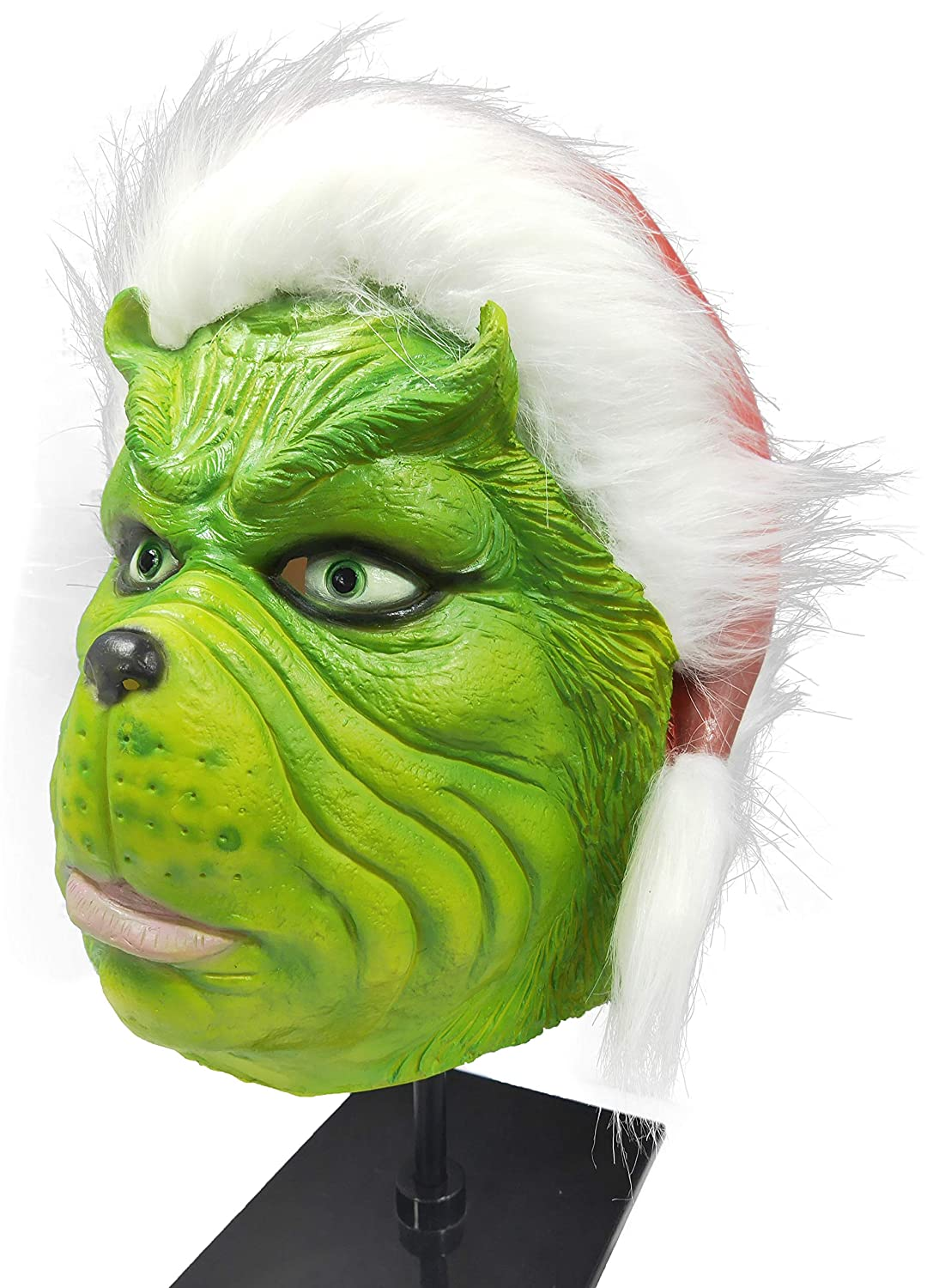 Lepy Grinch Mask Costume with Red Santa Hat Cosplay Suit for Christmas
