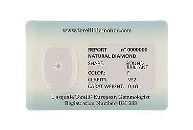 Diamante Torelli certificado por Blister Investment |Corte Brillante Color F Pureza VS2, Peso 0.10 Quilates | Diamantes Naturales Certificación IGI Amberes: ...