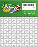 504 Klebeherzen, 10 mm, weiß, aus PVC Folie, wetterfest, Herz Sticker Aufkleber