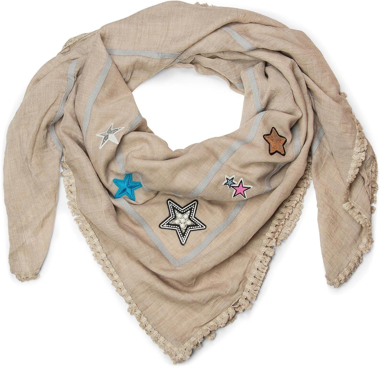 XXL Vierecktuch Stern Patches Pailletten Strass Sticker Fransen Schal Tuch Damen