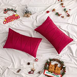 Woaboy Pack of 2 Striped Velvet Throw Pillow Covers Modern Decorative Solid Christmas Cushion Covers Pillowcases Rectangle Soft Cozy for Bed Sofa Couch Car Living Room 12x20inch 30x50cm Red