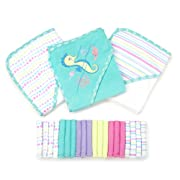 Spasilk 23-Piece Essential Baby Bath Gift Set – Hooded Baby Towels & Washcloths – Newborn Boy or Girl – Baby Shower Gift