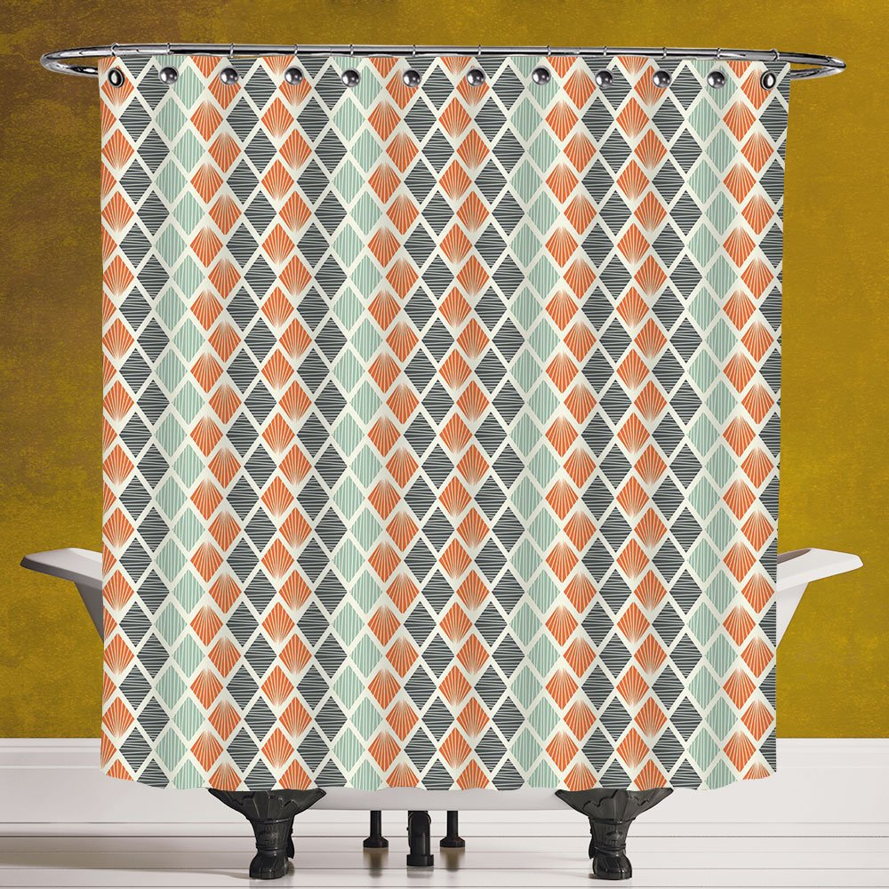 Stylish Shower Curtain 3.0 [Geometric,Square Shapes with Lines Rhombus Geometric Design Elements Decorative,Orange Almond Green Charcoal Grey] Polyester Fabric Bath Decorative Curtain Ideas
