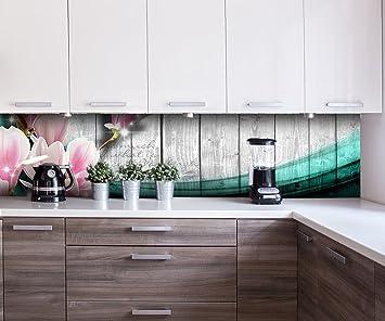 Küchenrückwand Holz Blüten türkis Nischenrückwand Spritzschutz ...