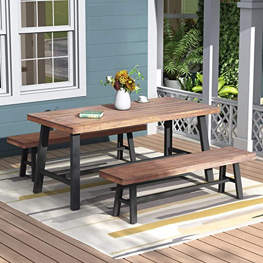 Amazon.com: Outdoor Table And Bench Set Solid Wood, Walnut, Picnic Table, Solid Wood Bench Set Up To 4 Seat, Children Play Table Outdoor Garden Yard Ship From USA Local Warehouse, Arrive At