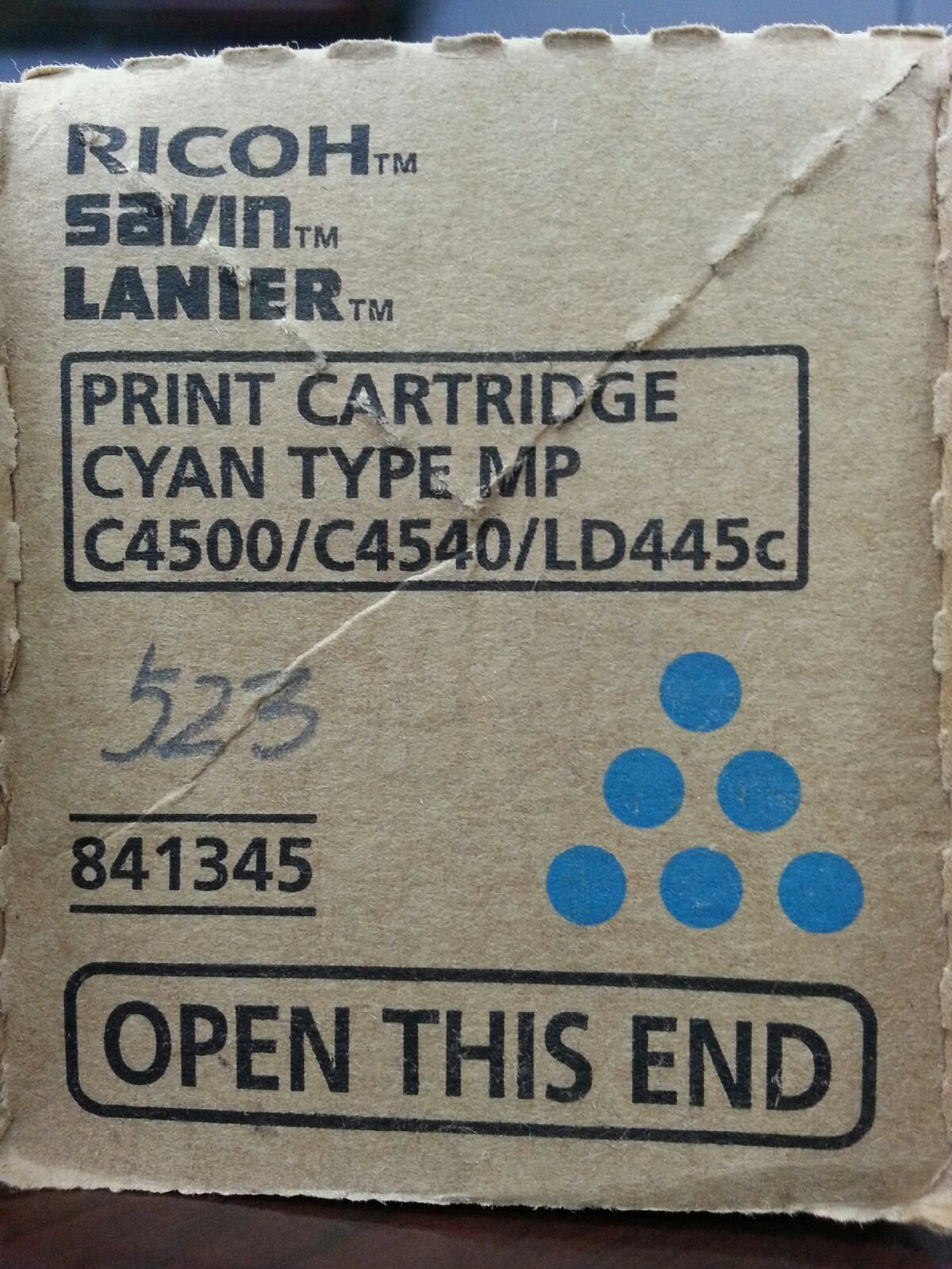Ricoh Savin Lanier (841345) Cyan Toner for Models MP C4500, C4540, LD445c by Gestetner
