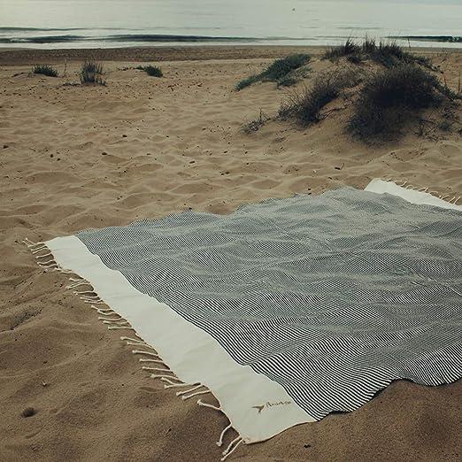 Amiaire Toalla de Playa XL Venecia - Blanca y Negra - Toalla 100 ...