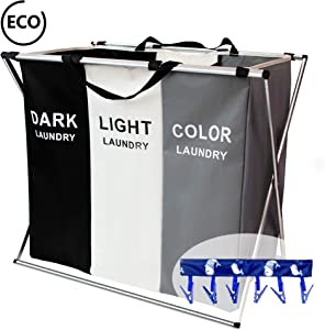 FUNFLOWERS Laundry Hamper Basket Sorter with Handle and Aluminum Frame, 3 Sections Foldable Portable Large Dirty Clothes Basket Organizer for Bathroom Bedroom Home 135L(Black+White+Grey)