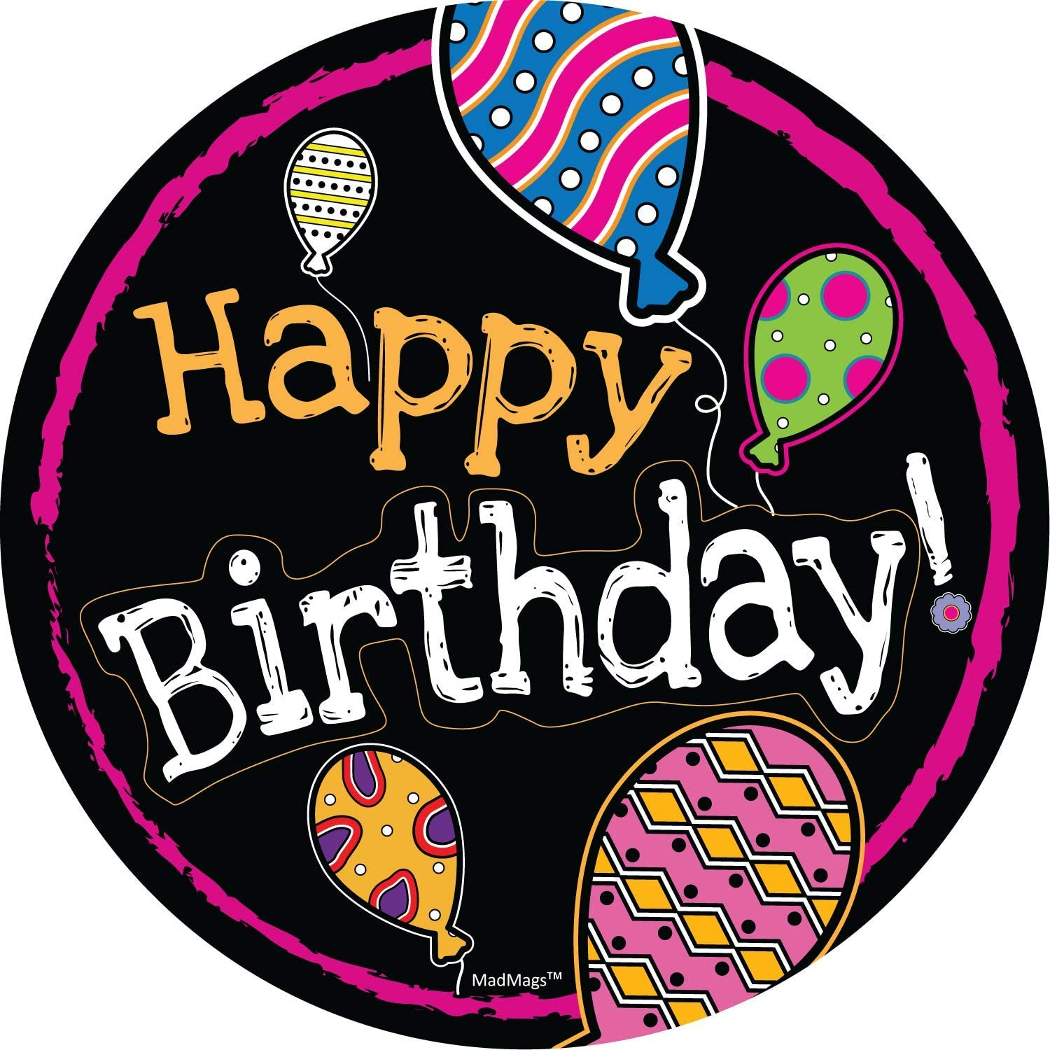 Car Magnet Happy Birthday Balloon Round White Magnetic Decal Sign for Car, Office or Fridge, 5.5 Inches (Black Balloon)