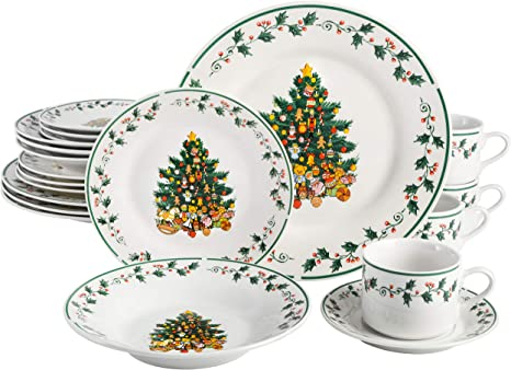 Amazon Com Gibson Home Tree Trimming 20 Piece Ceramic Dinnerware Set White Green Red Christmas Dinner Sets Kitchen Dining