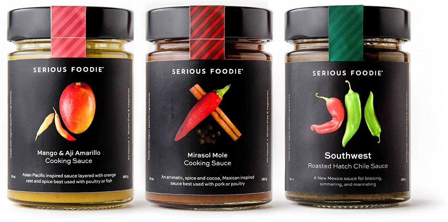 The Serious Foodie Gourmet Sauces - Perfect for Braising: Southwest Roasted Hatch Chile Sauce, Mirasol Mole Cooking Sauce, Mango & Aji Amarillo Cooking Sauce (3-Pack)