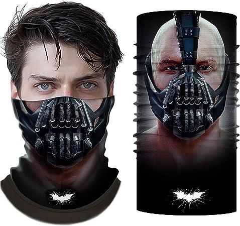 Chiefstore Bane Maske Bandanas 3D-gedruckte Sturmhaube FaceScarf Neck Gaiter UV-Schutz Staub Wind Kopfbedeckungen M/änner Frauen Cosplay zum Angeln Wandern Motorrad Radfahren