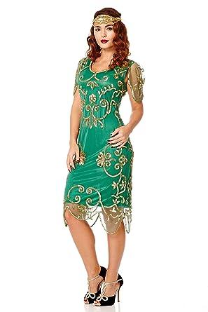 Rosemary Vintage Inspired Flapper Dress Emerald Green US6 EU38