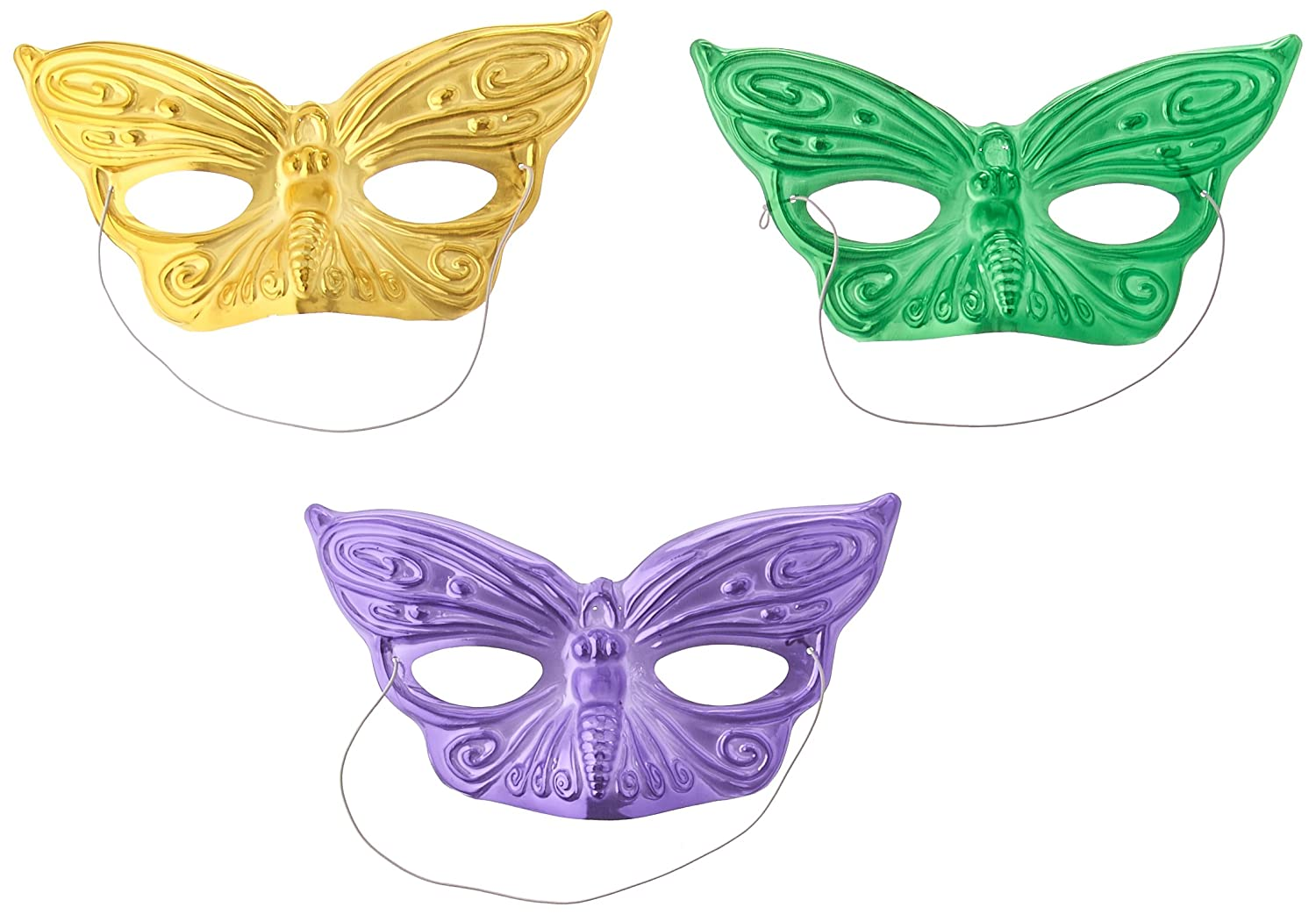 Mardi Gras Party Foil Butterfly Assorted Masks 3 x 7.5 36 Ct.