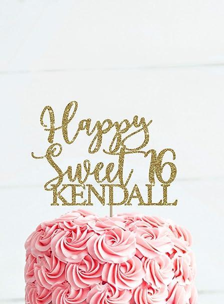 KISKISTONITE Sweet 16 Cake Topper Happy Birthday Toppers Sparkling Gold Glittery Cupcake Picks