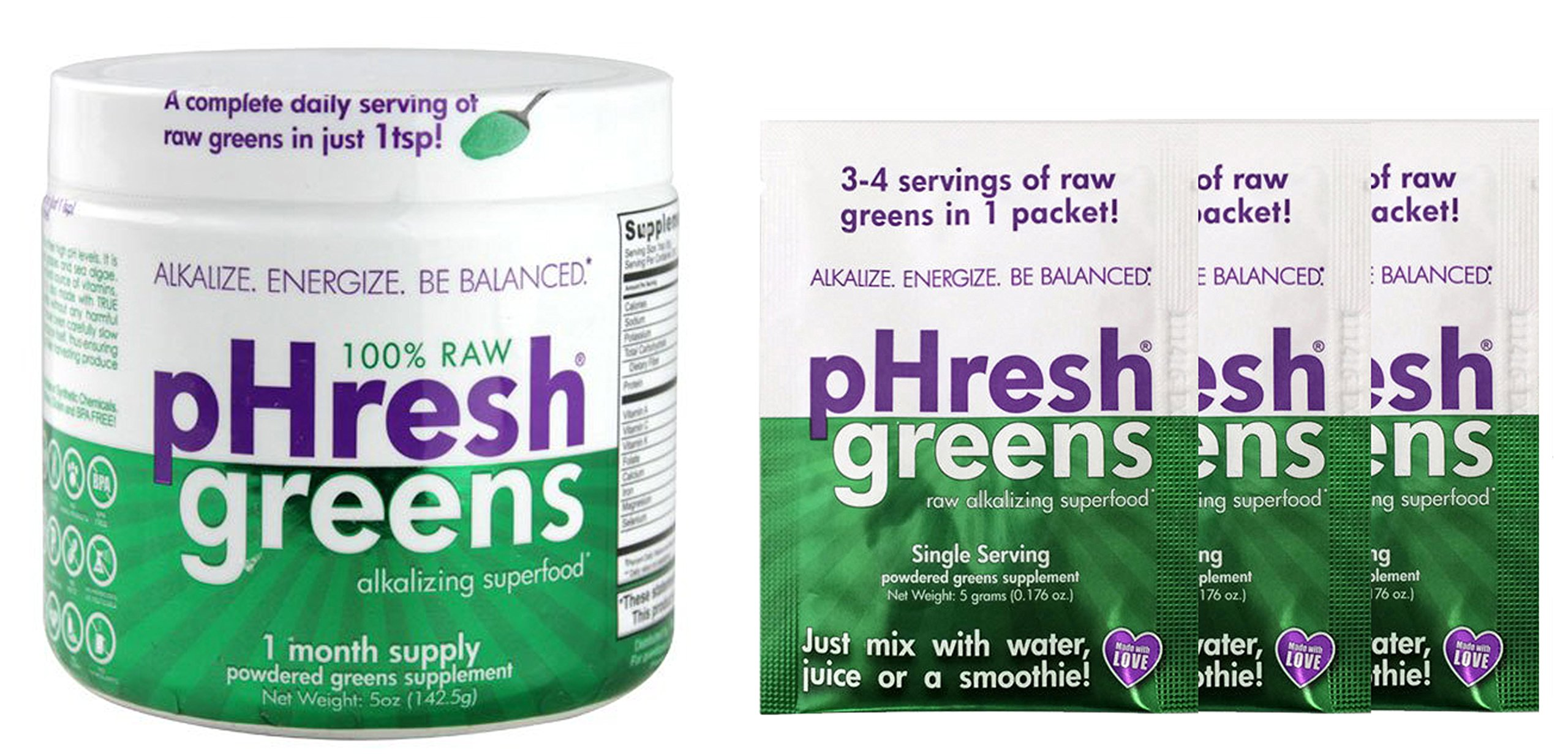 pHresh Products Greens Raw Alkalizing Superfood, 1 Month Supply, 5 Ounce With 3 FREE Travel Packs