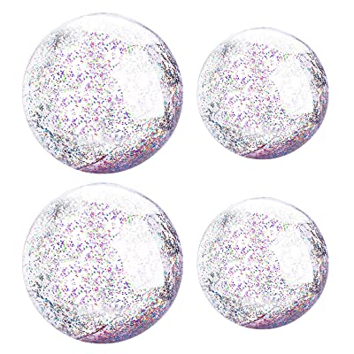 XYH Beach Ball Toy for Beach and Pool, Confetti Sequins Inflatable Beach Ball Glitter, Summer Parties and Gifts (2X16in, 2X24in): Toys & Games