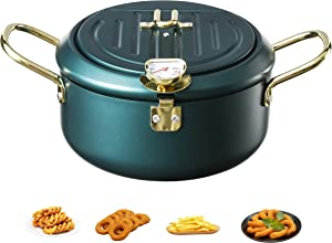 Tempura Fry Pot, Tempura Deep Fryer with Thermometer and Lid, Kitchen Deep Fryer Pan - 8 Inch (Dark Green)