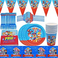 BESLIME Juego de accesorios de fiesta de 62 piezas para niños, decoración de cumpleaños de Paw Dog Patrol, platos, tazas…