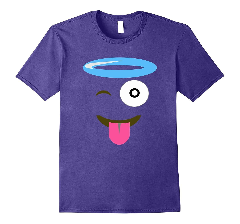 Angel Smile Face Funny Emoji Shirt - Group Couple Halloween-T-Shirt