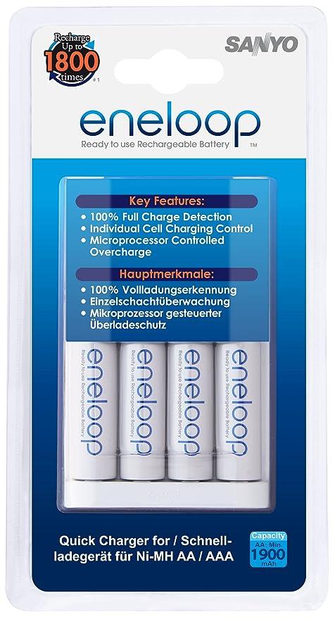 Sanyo Eneloop - Pack de pilas y cargador (4 x pilas AA, 1900 mAh, 1.2 V), blanco
