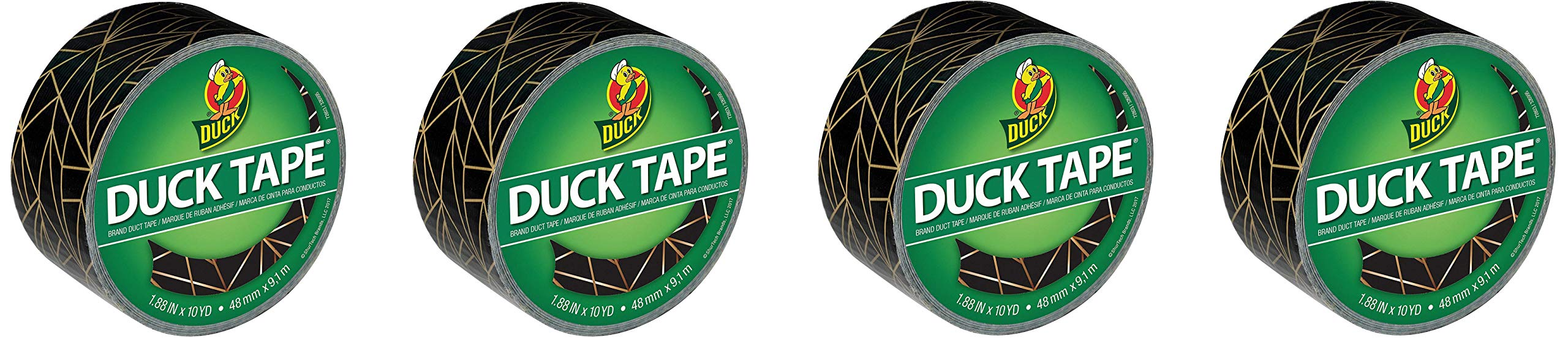 Duck Brand 241794 Printed Duct Tape, 1.88 in. x 10 yds, Gold Geometric (Fоur Paсk)