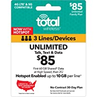 Total Wireless $85 Shared Plan - Unlimited Talk, Text, 60GB Data - 30 Days (New Benefits)