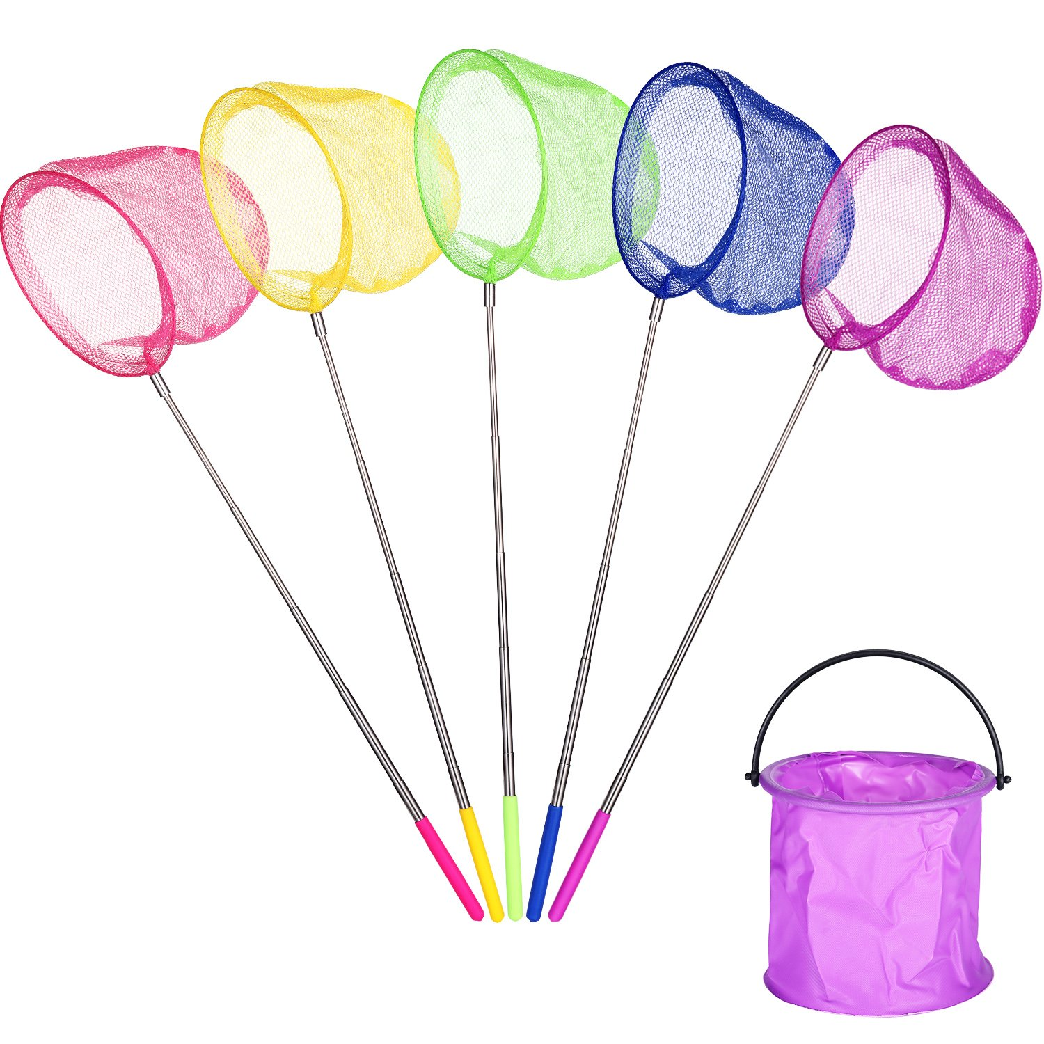 Gejoy 5 Pieces Telescopic Catching Fish Nets 1 Pack Folding Bucket Kids, Multi-Functional Fishing Net Catching Butterfly Fishing Kit Kids, Travel Activities