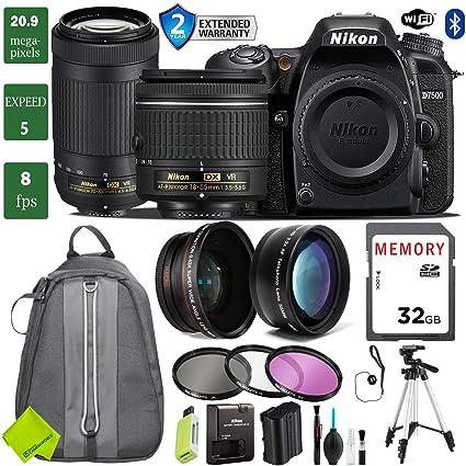 Nikon D7500 DSLR Camera 18-55mm VR Lens Bundle (18-55mm VR & Nikon 70-300mm  VR, 2 Year Extended Warranty)
