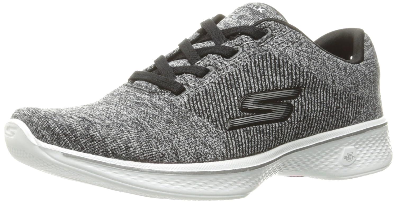 Skechers Damen Go Walk 4 Sneaker, BBK  41 EU|Schwarz (Black/White)