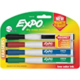 Expo Magnetic Dry Erase Marker with Eraser - Fine 4-pack (Business Assorted)