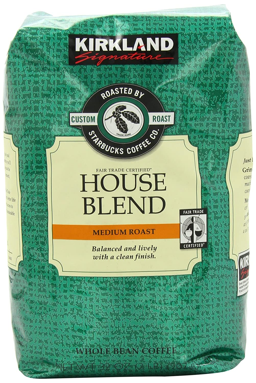 Kirkland Signature House Blend Whole Bean Coffee, Starbucks Roast ...