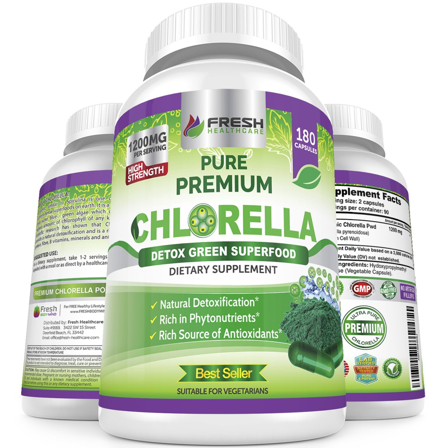 Organic Chlorella Capsules 100% Vegetarian – 180 Pure Vegan Powder Capsules – No.1 Source of Chlorophyll & CGF-1200mg Natural Detox Superfood - Rich in B Vitamins, Minerals & Protein-Cracked Cell Wall