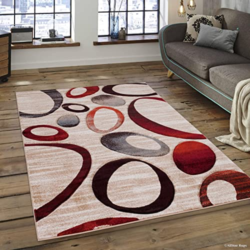 Allstar 8×11 Champagne Modern and Contemporary Hand Carved Rectangular Accent Rug with Red, Grey and Mocha Abstract Multiple Ring Design 7 1 x 10 5