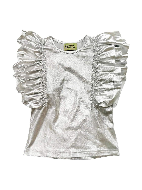 Sophie Catalou Little Girls Silver Metallic Shine Ruffle Embellished Top 3-6