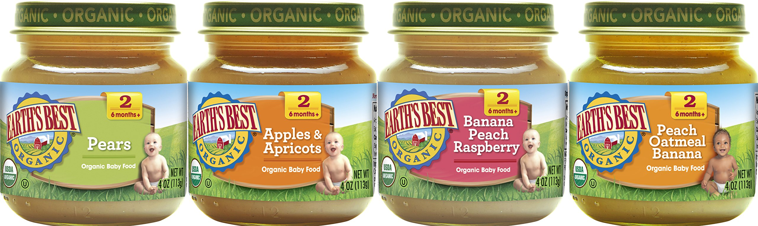 Earth's Best Organic Stage 2 Baby Food, Favorite Fruits Variety Pack, 4 oz. Jar (12 Count) by Earth's Best