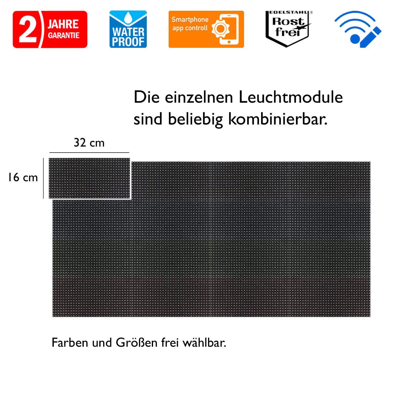 LED Einfarbig Rot Laufschrift Lauftext Au/ßenwerbung LEUCHTREKLAME WLAN Einseitig 32 x 128 cm