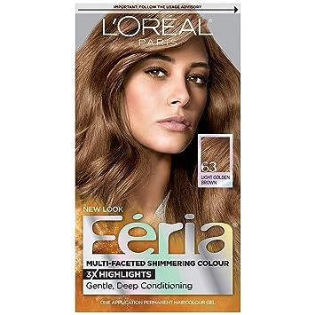 L'Oreal Paris Feria Multi-Faceted Shimmering Color, Light Golden Brown [63]  1 ea (Pack of 3)