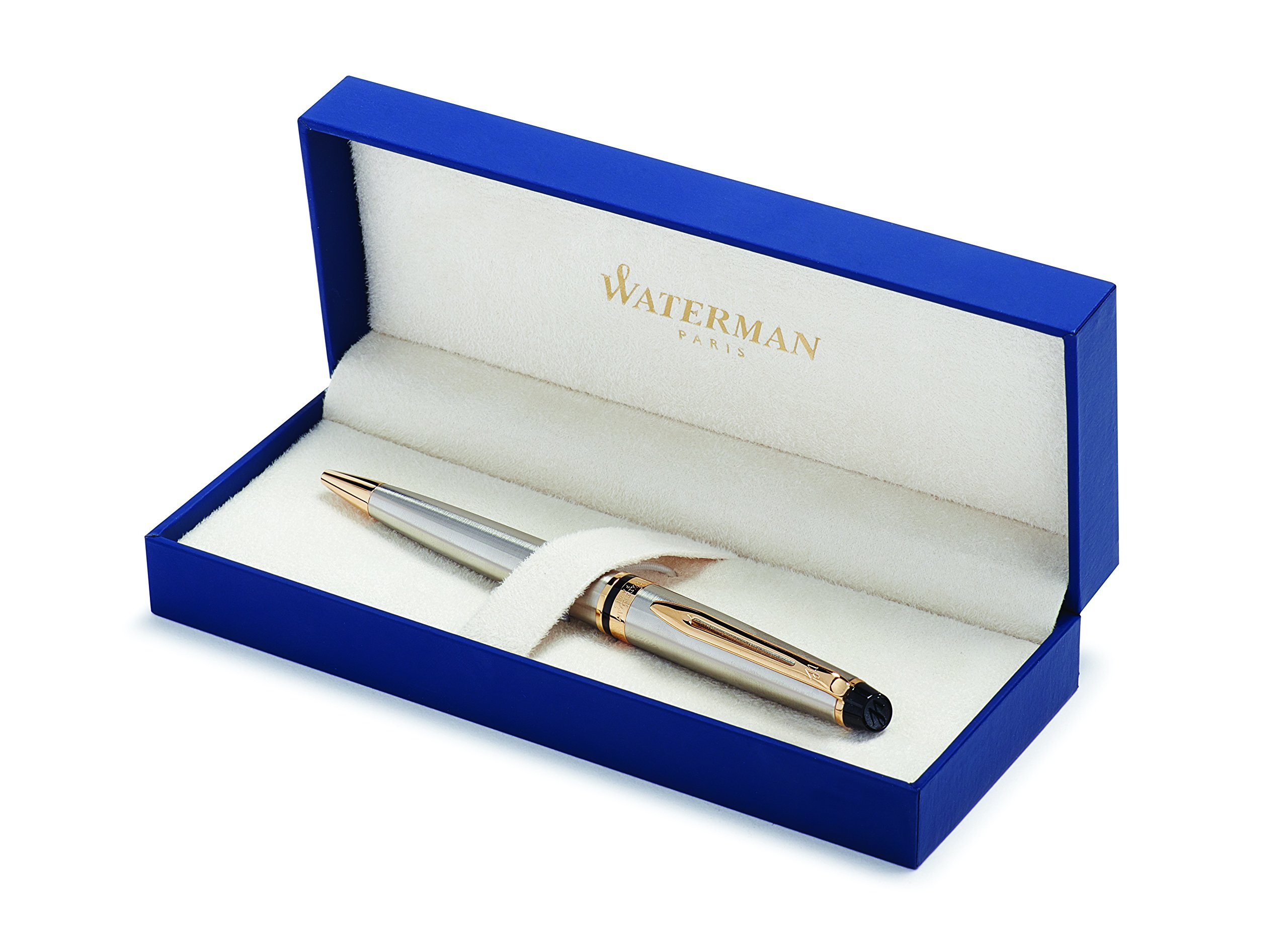 Waterman Expert Stainless Steel with Golden Trim, Ballpoint Pen with Medium Blue refill (S0952000)