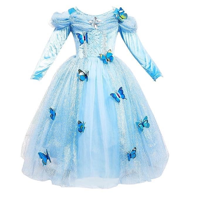 GenialES Disfraz de Vestido Princesa Azul con Mangas Largas de Invierno para Cumpleaños Carnaval Fiesta Cosplay