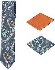 Men's Woven Paisley Regular Length Neck Tie with 2 Handkerchief Pocket Squares Hanky Set - Green Orange