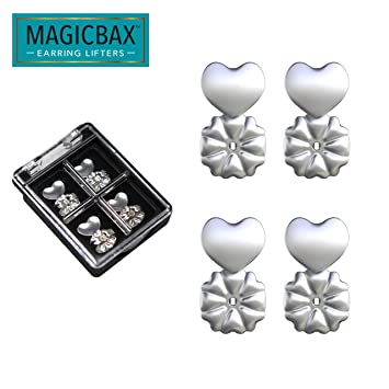 c89574347 Amazon.com   Magic Bax Earring Lifters - 2 Pairs of Adjustable  Hypoallergenic Earring Lifts (2 Pairs of Sterling Silver Plated Earring  Backs) As Seen on TV ...