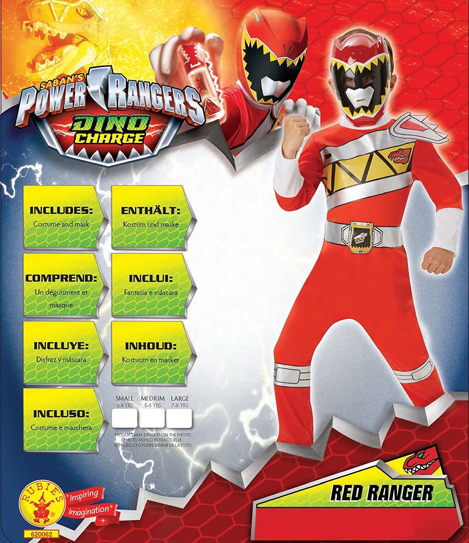Disfraz oficial de Power Rangers Dino Charge rojo para niños entre ...